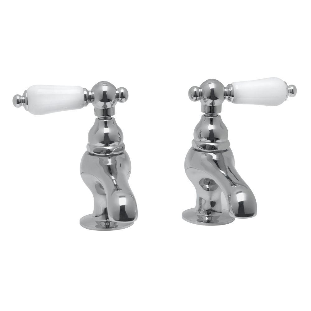Elizabethan Classics Double Hole 2 Handle Mid Arc Vessel Bathroom Faucet  With Porcelain Lever