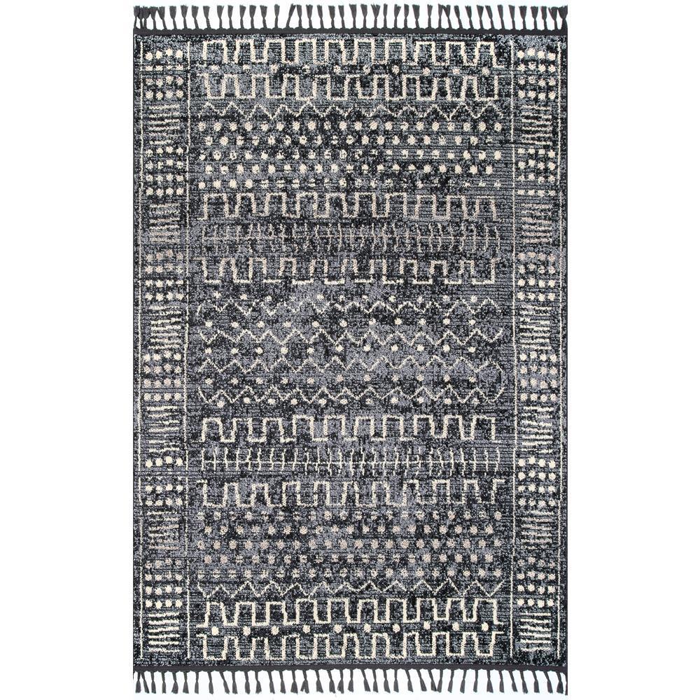 Tulia Vintage Ethnic Tassel Gray 9 ft. x 12 ft. Area Rug