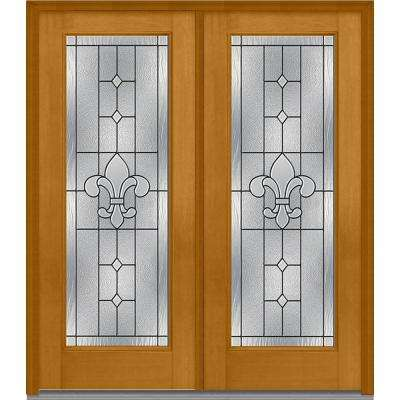 64 in. x 80 in. Carrollton Right-Hand Inswing Full Lite Decorative Stained Fiberglass Mahogany Prehung Front Door