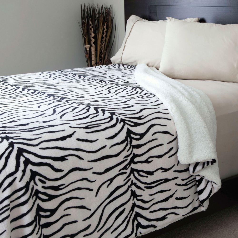 Zebra Print Fleece/Sherpa Polyester Full/Queen Blanket