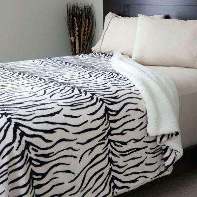 Zebra Print Fleece/Sherpa Polyester Twin Blanket