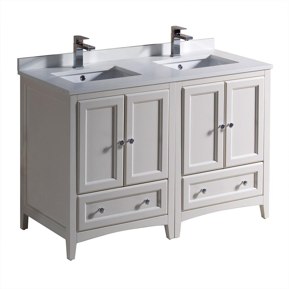 Fresca Oxford 48 In Double Vanity Antique White With Quartz Stone Top Basins