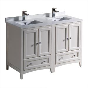Fresca Oxford 48 inch Double Vanity in Antique White with Quartz Stone Vanity Top in White with White Basins by Fresca