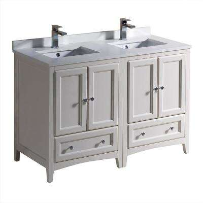 Oxford 48 in. Double Vanity in Antique White with Quartz Stone Vanity Top in White with White Basins