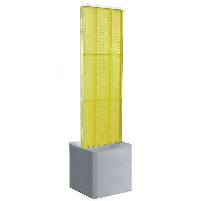 60 in. H x 16 in. W Two-Sided Pegboard Floor Display on Adjustable Studio Base in Yellow