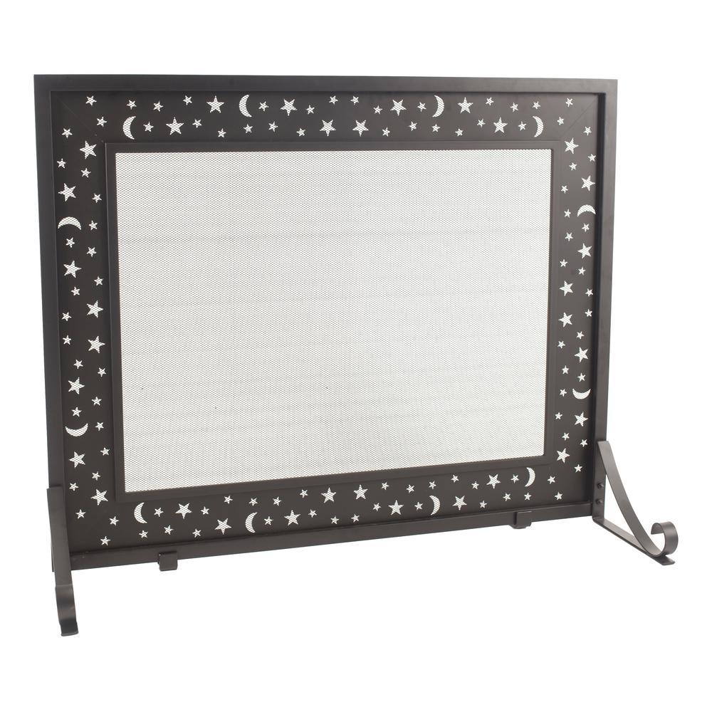 Pleasant Hearth Glactica Black Steel 1-Panel Fireplace Screen