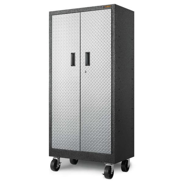 Gladiator Premier Series Pre Assembled 66 In H X 30 In W X 18 In D Steel Rolling Garage Cabinet In Silver Tread Gatb302drg The Home Depot