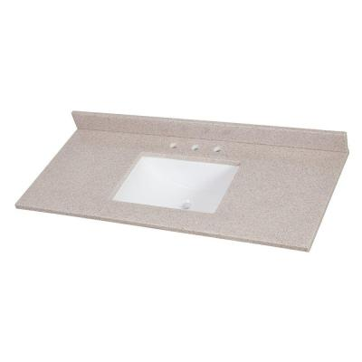 49 in. W x 22 in. D Solid Surface Vanity Top in Ginger with White Sink