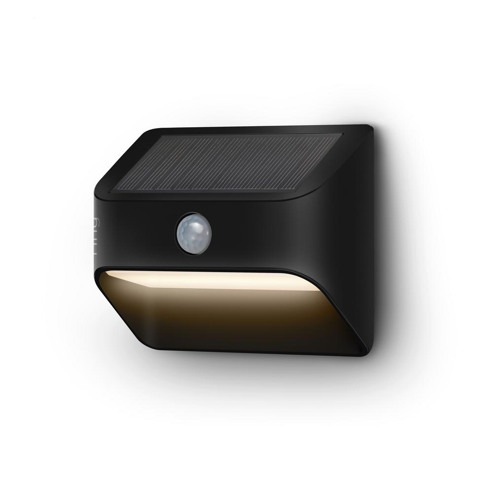 Ring Smart Lighting Solar Black Motion Activated Integrated LED Deck Step Light