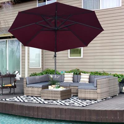 Grey 7-Piece Steel Plastic Rattan Patio Conversation Set w/Grey Cushions, 4 Chairs, 2 Corners Chairs, and Center Table