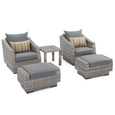 Cannes 5 Piece Wicker Patio Club Chair And Ottoman Set With Charcoal Grey Cushions