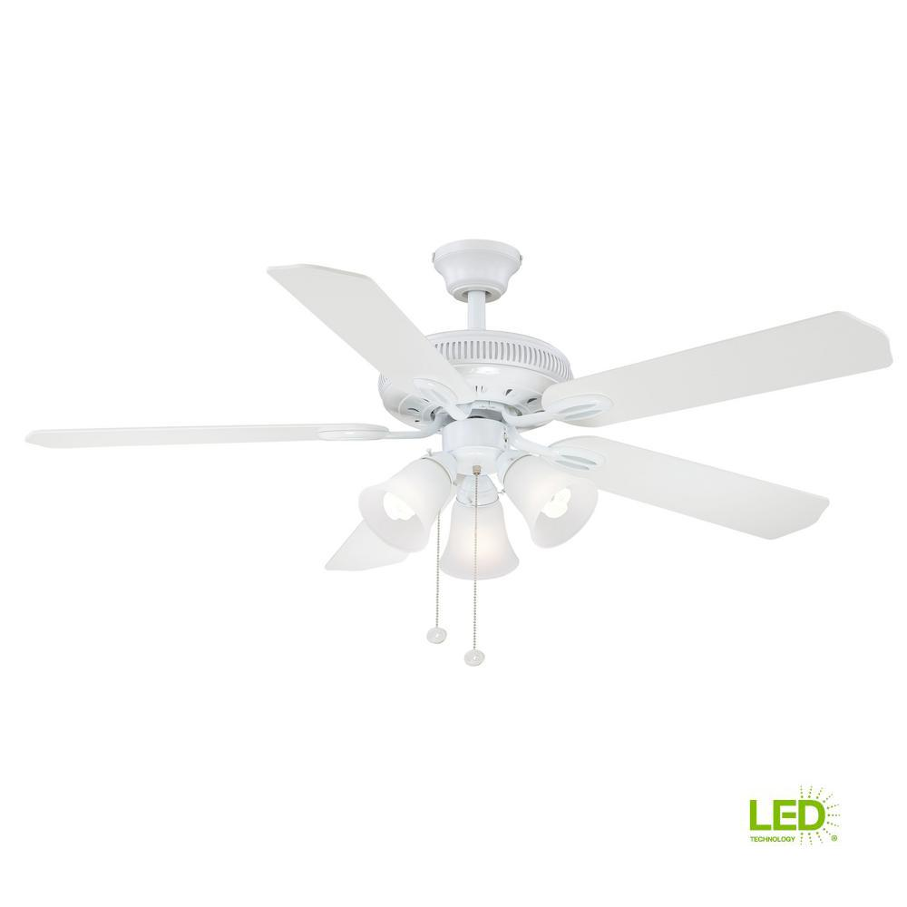 Led Indoor White Ceiling Fan With Light Kit