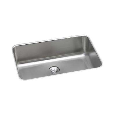 Lustertone Perfect Drain Undermount Stainless Steel 27 in. Single Bowl Kitchen Sink