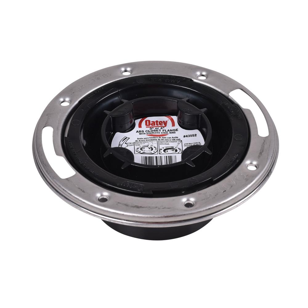 Oatey Oatey ABS HUB Closed Toilet Flange with Pre-Installed Testing Cap and  Metal Ring