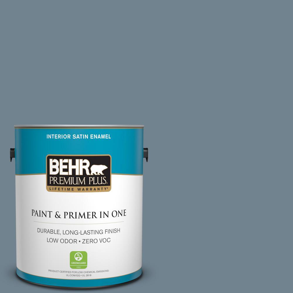 BEHR Premium Plus 1-gal. #N480-5 Adirondack Blue Satin Enamel Interior Paint