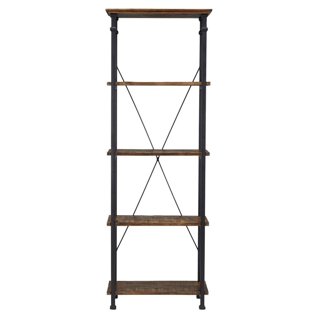 74.5 in. Distressed Cocoa Metal 4-shelf Etagere Bookcase with Open Back
