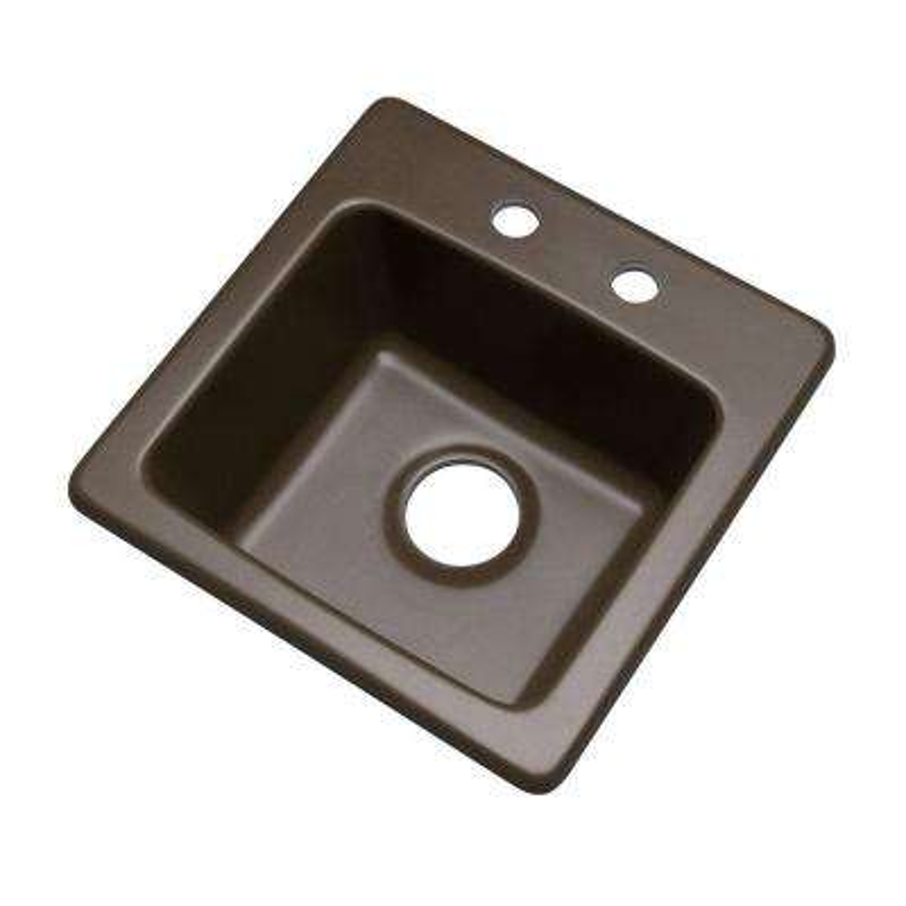 Westminster Dual Mount Granite Composite 16 in. 2-Hole Bar Single Bowl Kitchen Sink in Mocha