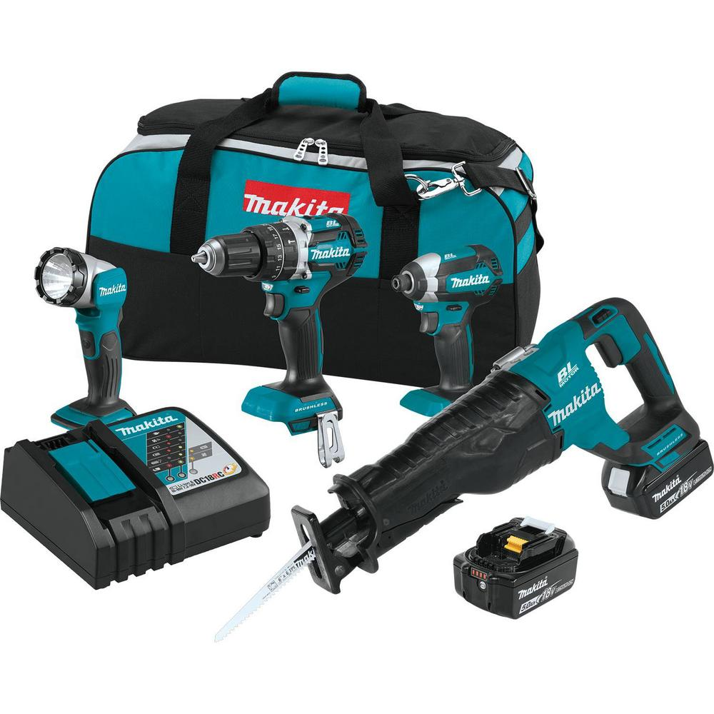 18-Volt 4-Piece 5.0Ah LXT Lithium-Ion Brushless Cordless Combo Kit Hammer Drill/