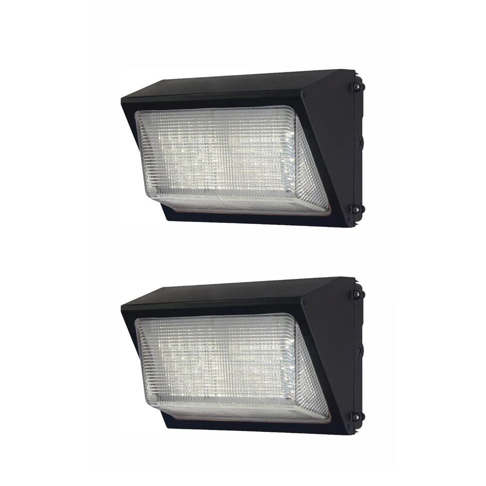 Commercial  50-Watt Bronze LED Wall Pack, 6800 Lumens, Dusk to Dawn Outdoor Light (2-Pack)