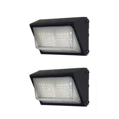 Commercial  50-Watt Bronze LED Wall Pack, 6800 Lumens, Dusk to Dawn Outdoor Light (2-Pack)