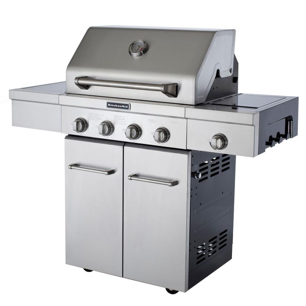 KitchenAid 4-Burner Propane Gas Grill in Stainless Steel with Side Burner  and Grill Cover