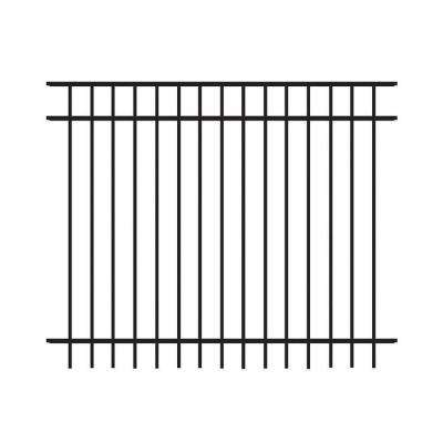 Natural Reflections Standard-Duty 5 ft. H x 6 ft. W Black Aluminum Pre-Assembled Fence Panel