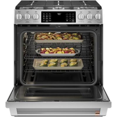 30 in. 5.6 cu. ft. Smart Slide-In Gas Range with Self-Cleaning Convection Oven in Stainless Steel