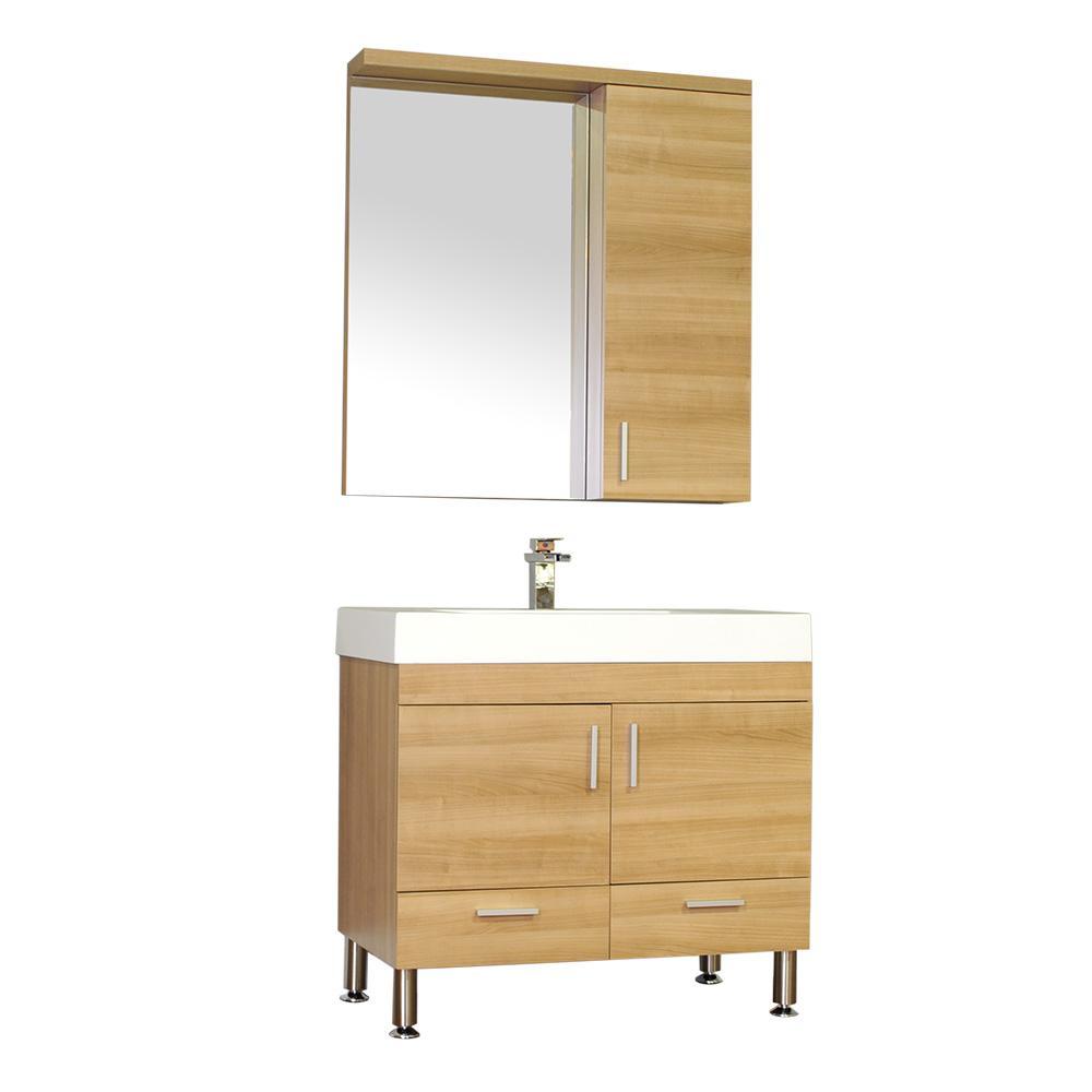 The Modern 35.35 in. W x 18.75 in. D Bath Vanity in Light Oak w/ Acrylic Vanity Top in White w/ White Basin and Mirror