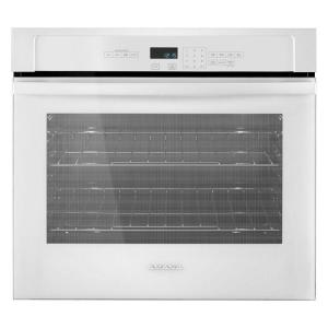 single electric wall oven in white