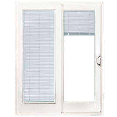 60 In X 80 Smooth White Right Hand Composite Sliding Patio Door With Built Blinds