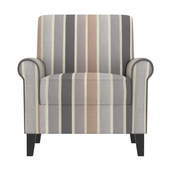 Handy Living Jean Muted Multi-Stripe Upholstered Rolled Arm Chair 340C-MST91-300