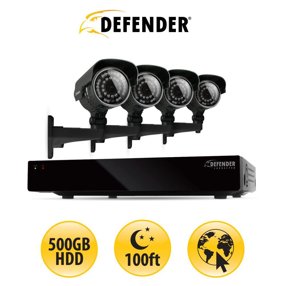 Defender 4-Channel 500GB Hard Drive Surveillance System with (4) 600 TVL Cameras