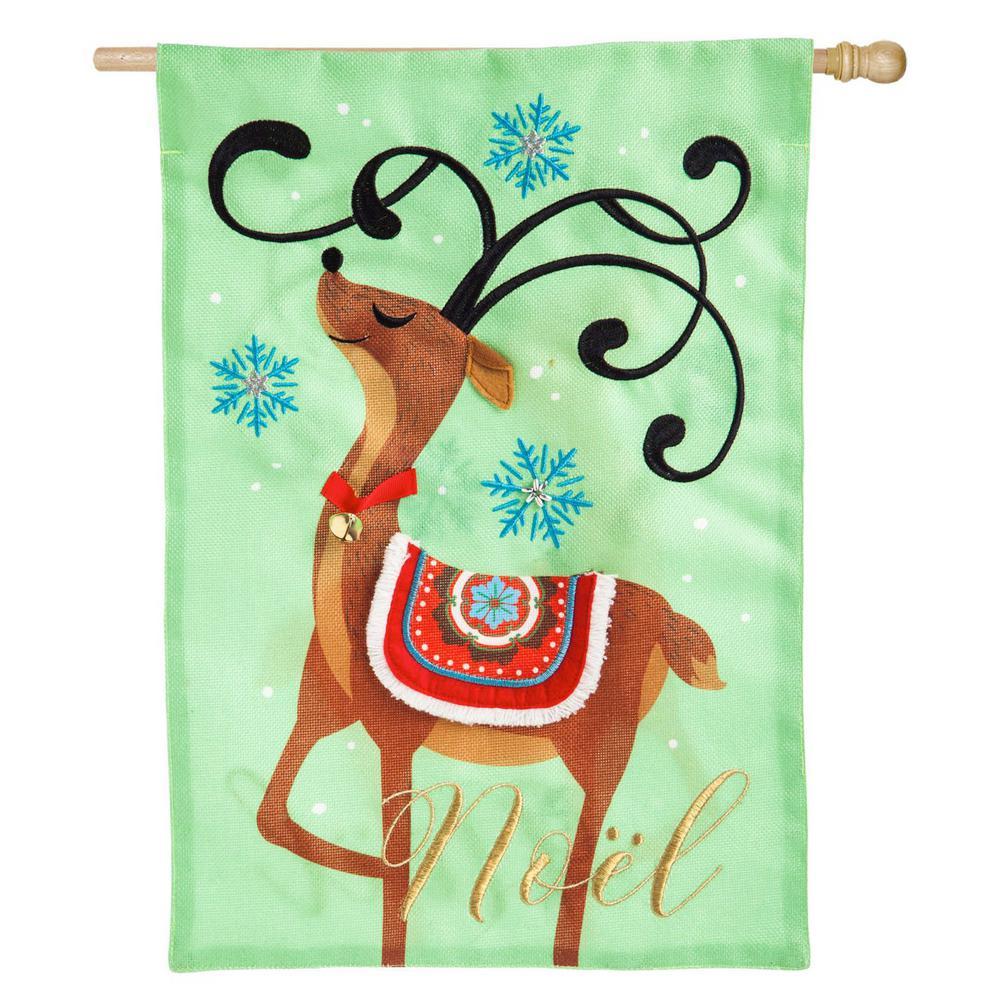 28 in. x 44 in. Noel's Reindeer House Burlap Flag