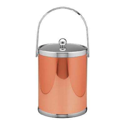 Mylar 5 Qt. Polished Copper and Chrome Ice Bucket with Track Handle and Metal Lid