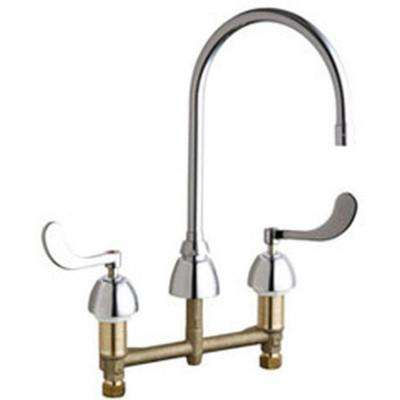 8 in. Widespread 2-Handle High Arc Bathroom Faucet in Chrome with 8 in. Rigid/Swing Gooseneck Spout