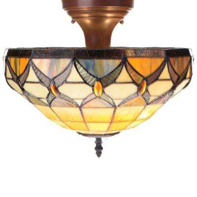2 Light Off White Indoor Tiffany Style Ceiling Lamp