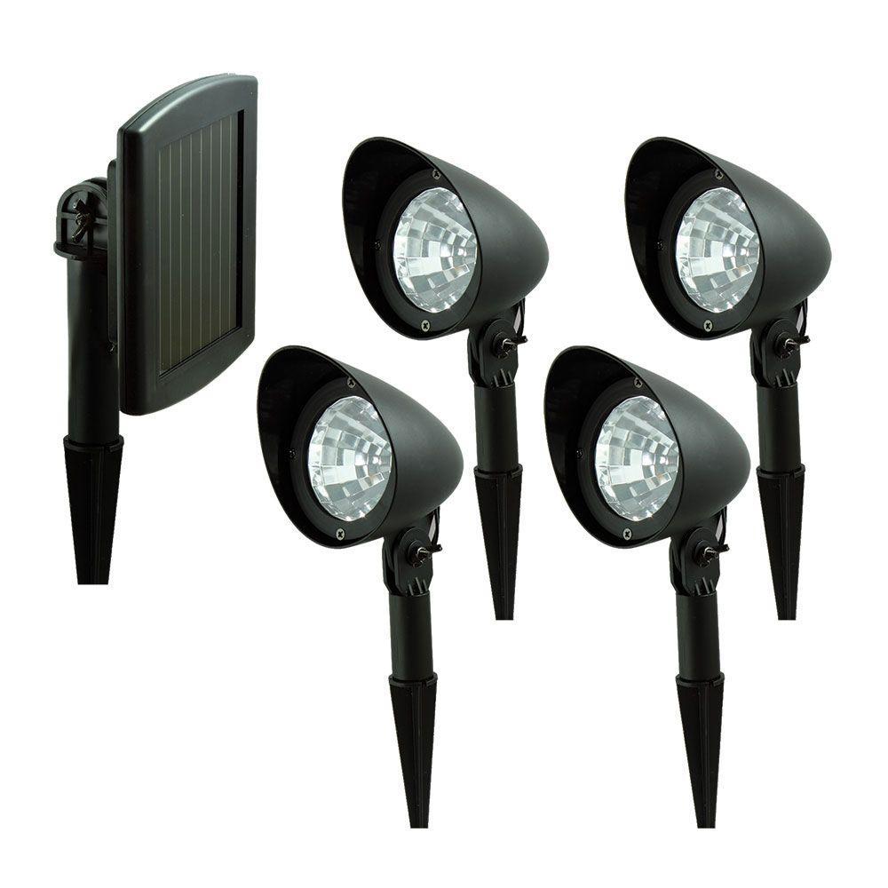 Nature Black Outdoor Solar LED Spotlight System (4-Pack)