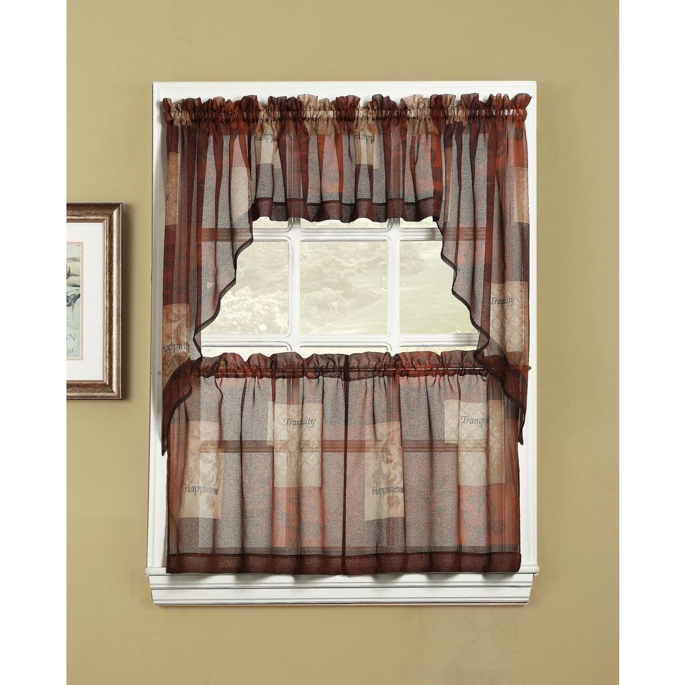 LICHTENBERG Sheer Multi Eden Printed Textured Sheer Kitchen Curtain Tiers,  56 in. W x 36 in. L