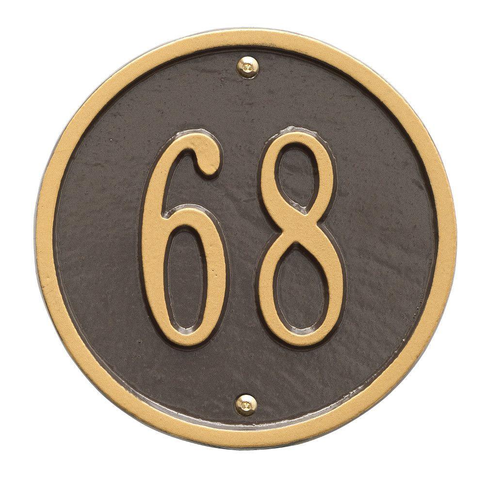 Whitehall Products Round Petite Bronze/Gold Wall 1-Line Address Plaque