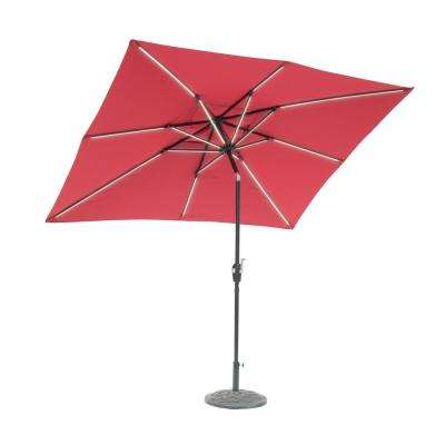 9 ft. x 7 ft. Rectangle Next Gen Solar Lighted Market Patio Umbrella in Scarlet