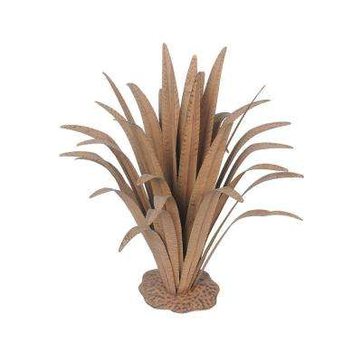 24 in. Metal with Rust Finish Large Plant Garden Statue