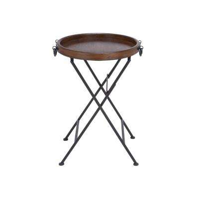 Brown Round Pine Wood Tray Table with Cross Legs