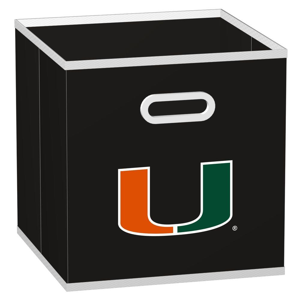 MyOwnersBox College STOREITS University of Miami 10-1/2 in. x 10-1/2 in. x 11 in. Black Fabric Storage Drawer