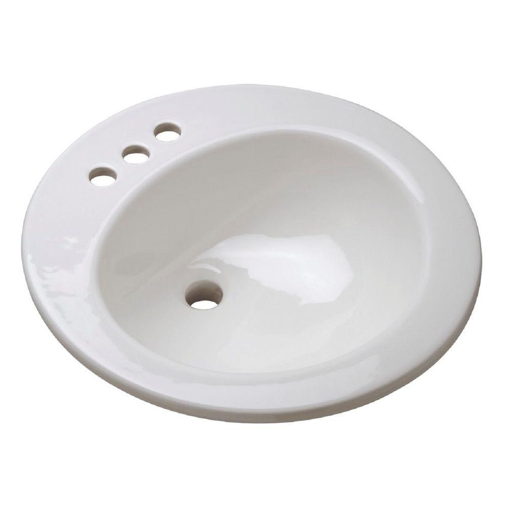 Zurn Drop-In Bathroom Sink in White