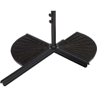 26 lbs. Resin Patio Umbrella Base Weight for Offset Umbrella in Black (Set of 2)