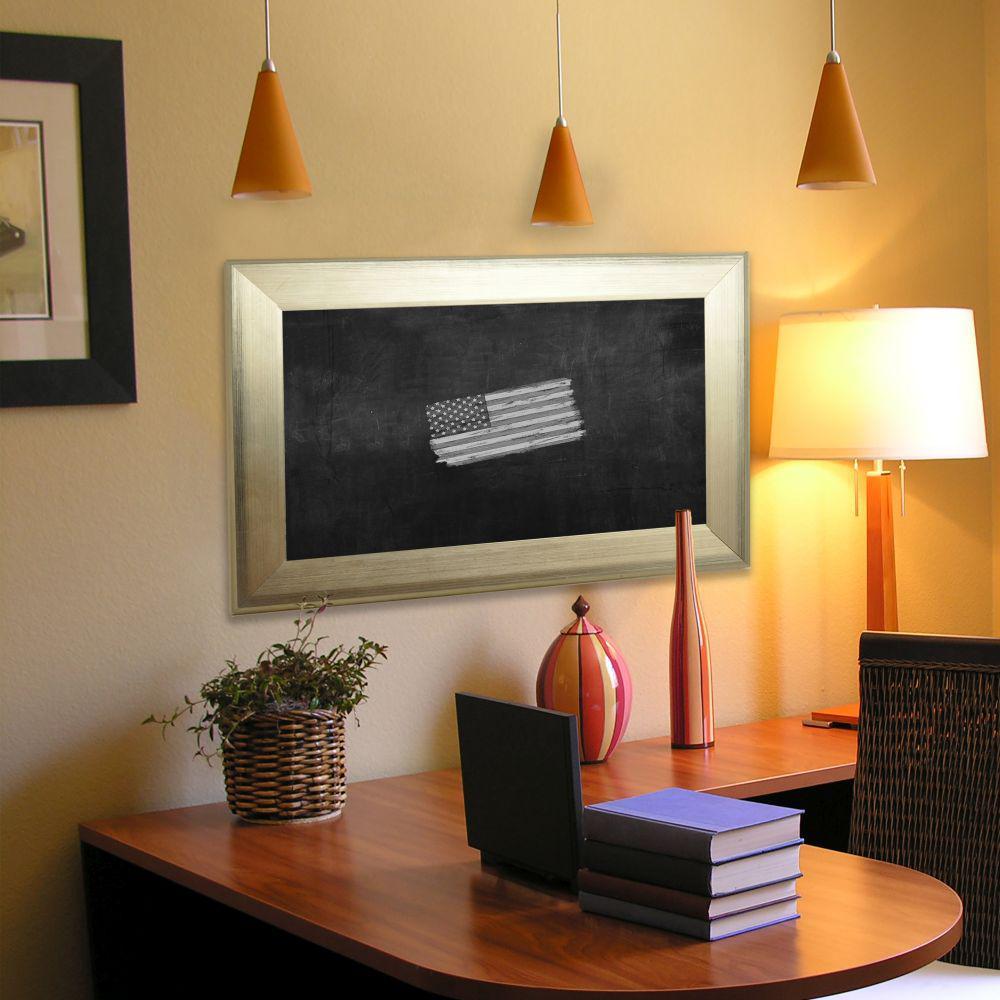 79 in. x 19 in. Brushed Silver Blackboard/Chalkboard