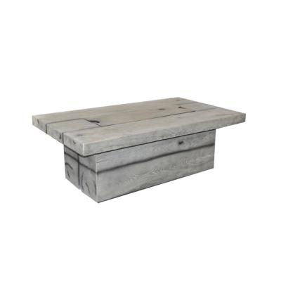 Fervor 52 in. W x 17.5 in. H Outdoor Concrete GRC Rectangular Liquid Propane Grey Fire Pit Table with Lid
