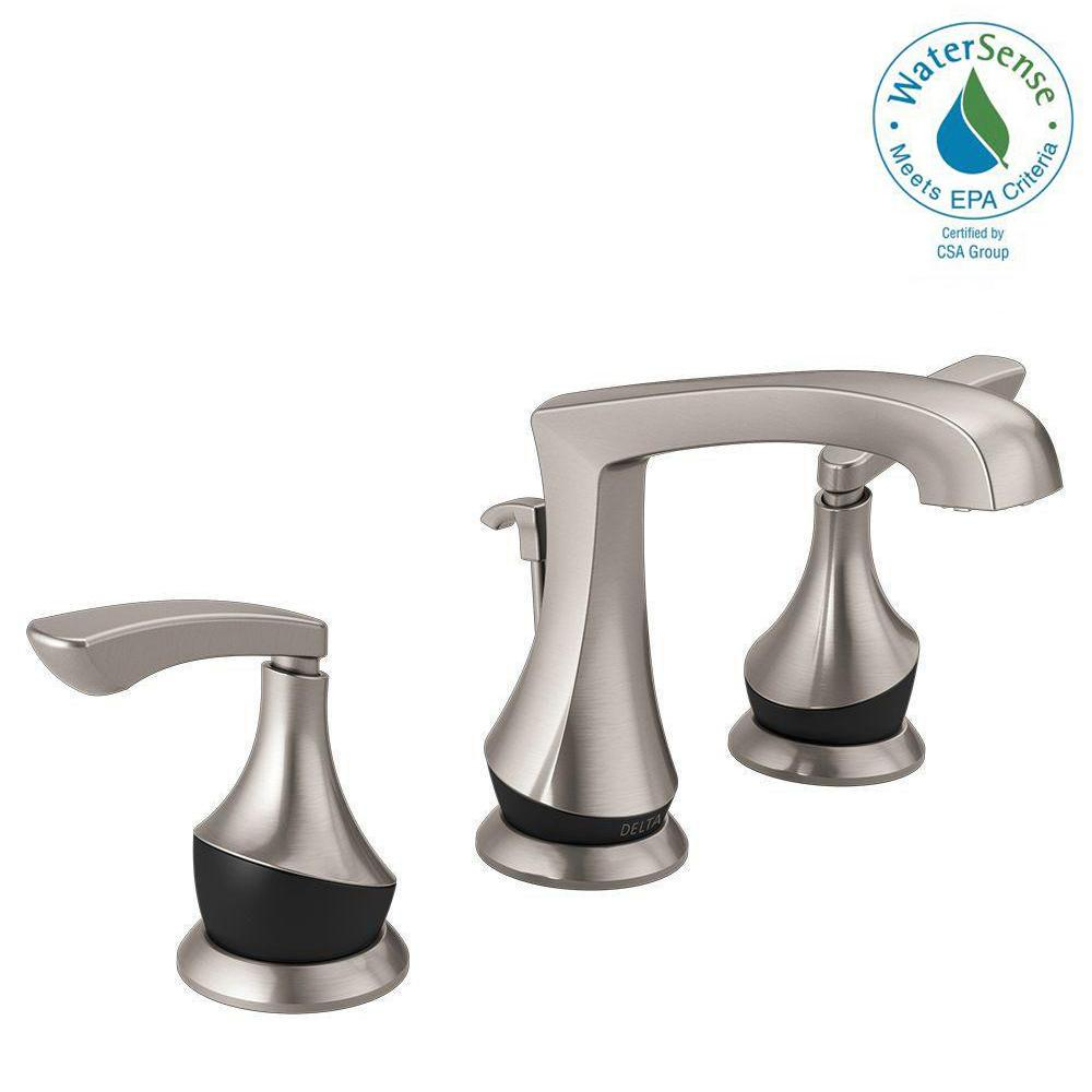 Delta Merge 8 In. Widespread 2 Handle Bathroom Faucet In SpotShield Brushed  Nickel/