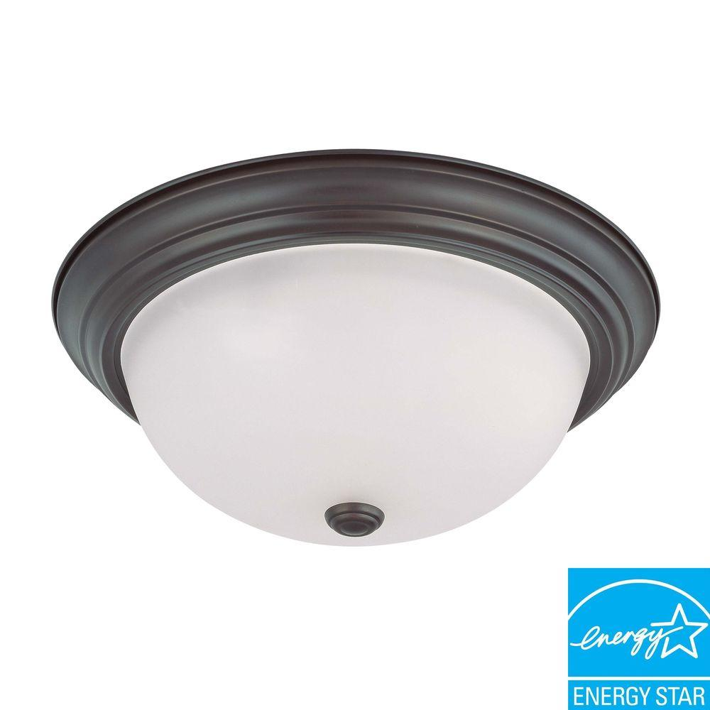 3-Light Ceiling Mahogany Bronze Fluorescent Flush Mount