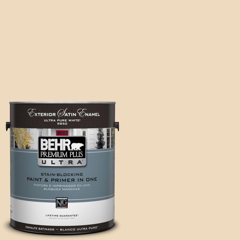 BEHR Premium Plus Ultra 1-Gal. #UL150-7 Light Incense Satin Enamel Exterior Paint